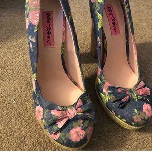 Betsey Johnson Floral Heels